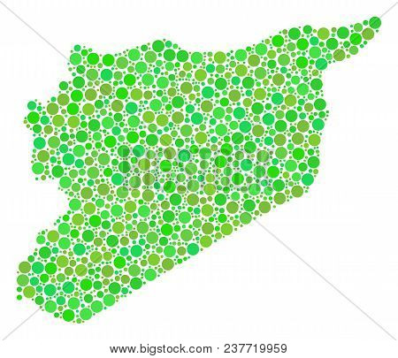 Syria Map Mosaic Of Random Filled Circles In Various Sizes And Green Color Tinges. Vector Spheric It