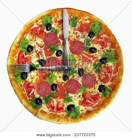 There Is A Pizza Clock. A Knife And A Fork Instead The Clock Hands. White Background.