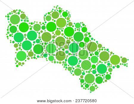 Turkmenistan Map Composition Of Randomized Filled Circles In Various Sizes And Ecological Green Colo