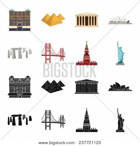Sights Of Different Countries Black, Cartoon Icons In Set Collection For Design. Famous Building Vec