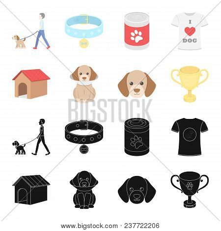 Dog House, Protective Collar, Dog Muzzle, Cup. Dog Set Collection Icons In Black, Cartoon Style Vect