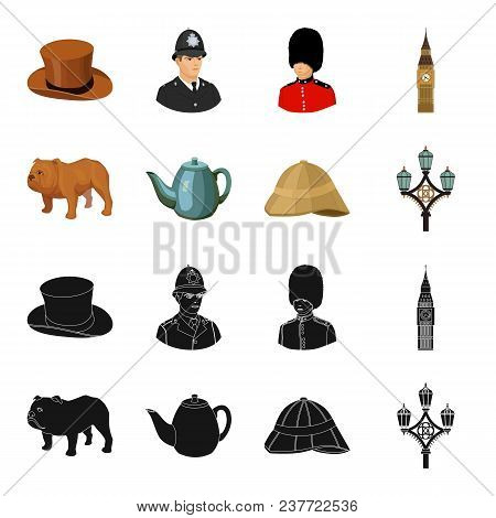 Breed Dog, Teapot, Brewer .england Country Set Collection Icons In Black, Cartoon Style Vector Symbo