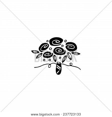 Vector Hand Drawn Object, Flower Bouquet. Feminine Logo Element, Romantic Floral Clipart. For Floris