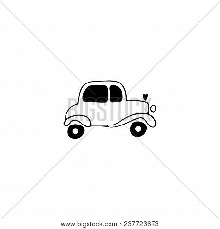 Vector Hand Drawn Object, Wedding Car. Logo Element, Romantic Clipart. For Transport Rent Or Valenti