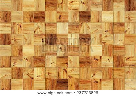 Wood Squares Wall As A Vintage Background
