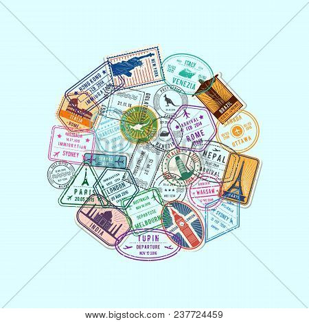 Vector World Immigration And Post Stamp Marks Gathered In Circle Illustration