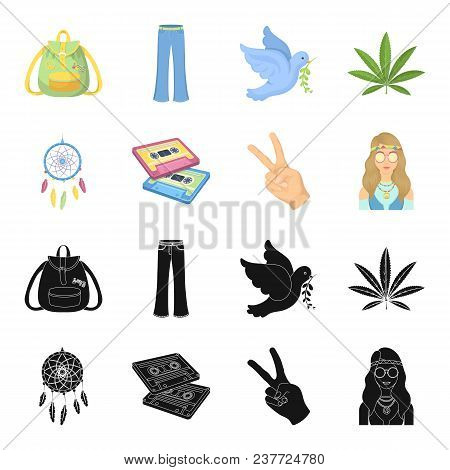 Amulet, Hippie Girl, Freedom Sign, Old Cassette.hippy Set Collection Icons In Black, Cartoon Style V