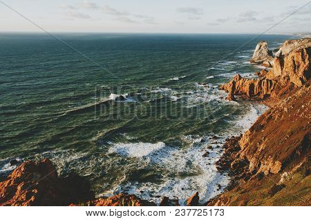 Exploring Portugal. Cabo da Roca ocean and mountains view, authentic lifestyle capture, wanderlust concept. poster
