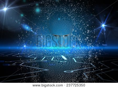 Digital composite of Digitally generated image of 3d human over abstract glowing background