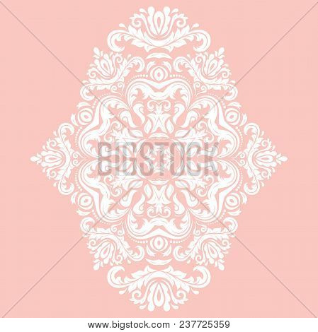 Oriental Vector Pattern With Arabesques And Floral White Elements. Traditional Classic Ornament. Vin