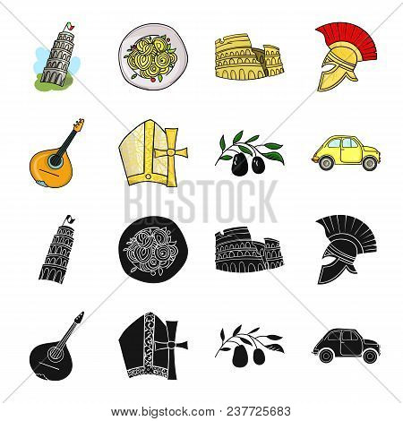 Mandolin, Papa, Olive, Retro Auto.italy Country Set Collection Icons In Black, Cartoon Style Vector