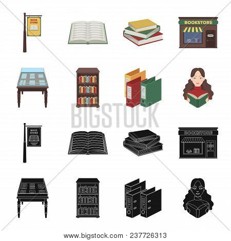 Library And Bookstore Black, Cartoon Icons In Set Collection For Design. Books And Furnishings Vecto