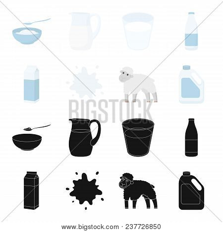 Billet Pack, Sheep.blue, Canister.moloko Set Collection Icons In Black, Cartoon Style Vector Symbol