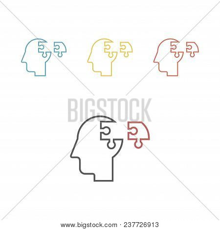Two Puzzle Heads Silhouettes Symbolizing Psychology, Psychological Problems.vector Sign For Web Grap
