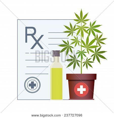 Marijuana Plant And Cannabis Oil. Hemp Oil In A Glass Jar. Cbd Oil Hemp Products. Oil Bottle Mock Up