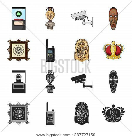 Picture, Sarcophagus Of The Pharaoh, Walkie-talkie, Crown. Museum Set Collection Icons In Black, Car