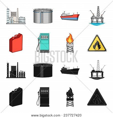 Canister For Gasoline, Gas Station, Tower, Warning Sign. Oil Set Collection Icons In Black, Cartoon