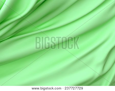 Beautiful Green Satin Fabric For Drapery Abstract Background. Color Silk. 3d Rendering.