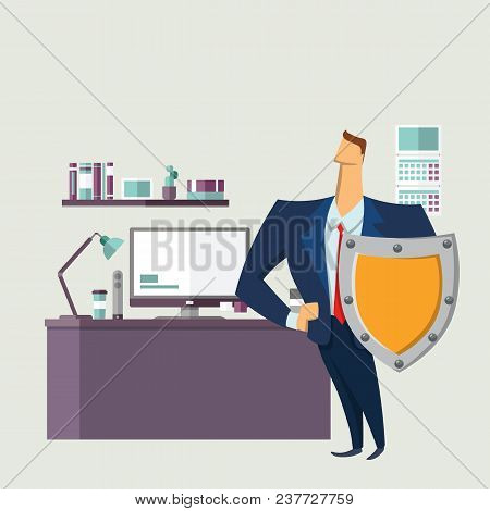 Man In Business Suit With A Shield In Front Of Computer Desk. Protecting Your Personal Data. Gdpr, R