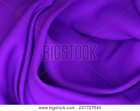 Beautiful Purple Satin Fabric For Drapery Abstract Background Color Silk Fabric. 3d Rendering.