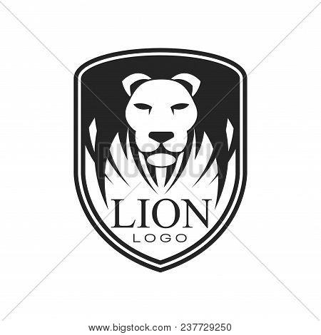 Lion Logo, Classic Vintage Style Design Element, Shield With Heraldic Animal Vector Illustration Iso