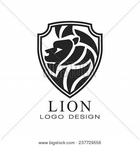 Lion Logo, Classic Vintage Style Design Element, Shield With Heraldic Animal, Monochrome Vector Illu