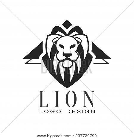 Lion Logo Design, Black And White Element For Poster, Banner, Embem, Badge, Tattoo, T Shirt Print, C