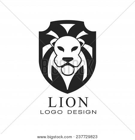 Lion Logo, Classic Vintage Style Design Element, Shield With Heraldic Animal, Black And White Vector
