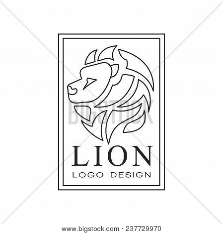 Lion Logo Design, Emblem With Silhouette Of Wild Animal For Poster, Banner, Embem, Badge, Tattoo, T