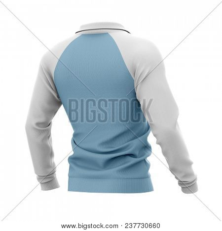 Men's zip neck pullover with raglan sleeves, rubber cuffs and collar. 3d rendering. Clipping paths included: whole object, collar, sleeve. Half-back view.
