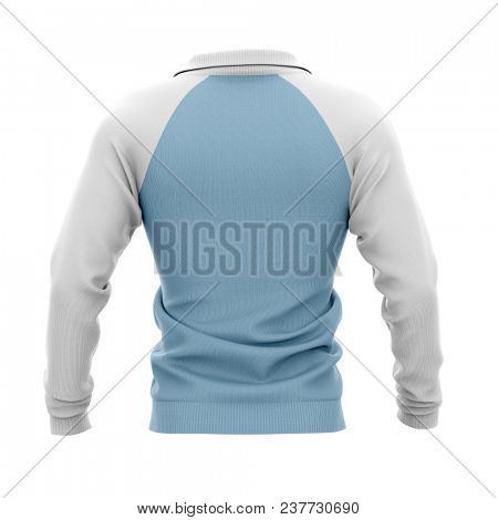 Men's zip neck pullover with raglan sleeves, rubber cuffs and collar. 3d rendering. Clipping paths included: whole object, collar, sleeve. Back view.