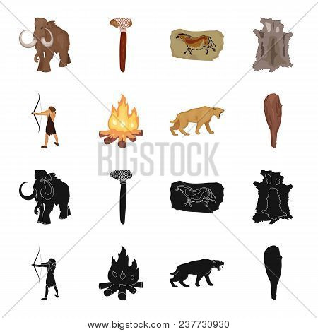 Man, Hunter, Onion, Bonfire .stone Age Set Collection Icons In Black, Cartoon Style Vector Symbol St
