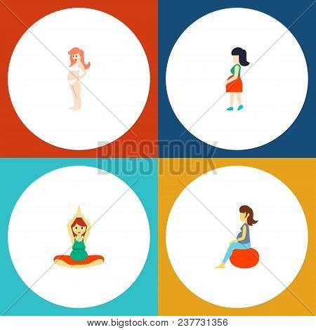 Icon Flat Pregnancy Set Of Pregnant Woman, Pregnancy, Meditation And Other Vector Objects. Also Incl