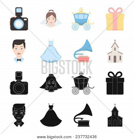 Wedding Dress, Groom, Gramophone, Church. Wedding Set Collection Icons In Black, Cartoon Style Vecto