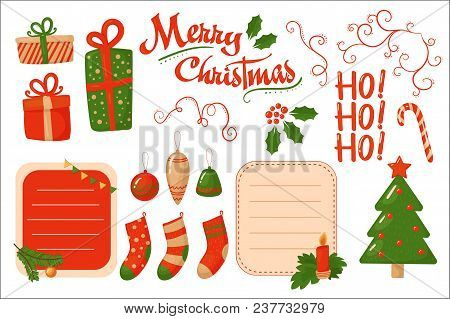 Merry Christmas Card, Holiday Decoration Elements, Stickers Vector Illustration, Web Design