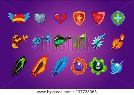 Collection Of Colorful Mobile Game Assets. Hearts, Defense Shields, Bottles With Poisons Magic Elixi