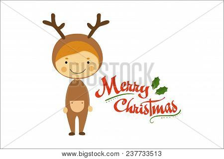Funny Little Boy Dressed As Deer. Smiling Kid In Carnival Costume. Merry Christmas And Happy New Yea