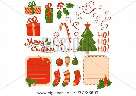 Set Of Decorative Elements For Christmas Postcard. Gift Boxes, Socks, Green Holiday Tree, Candy Cane