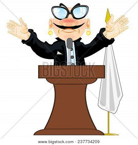 Cartoon Men Orator Emerging On Tribune.vector Illustration