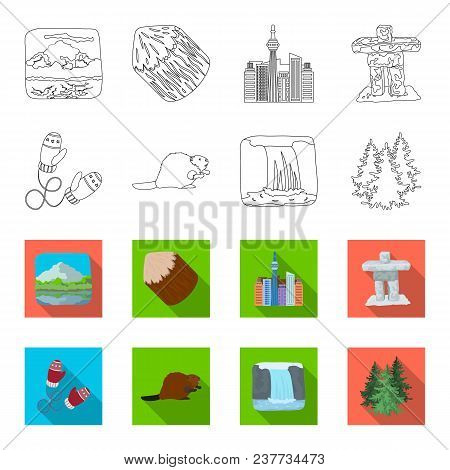 Canadian Fir, Beaver And Other Symbols Of Canada.canada Set Collection Icons In Outline, Flet Style