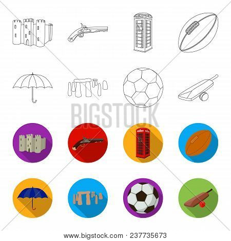 Umbrella, Stone, Ball, Cricket .england Country Set Collection Icons In Outline, Flet Style Vector S