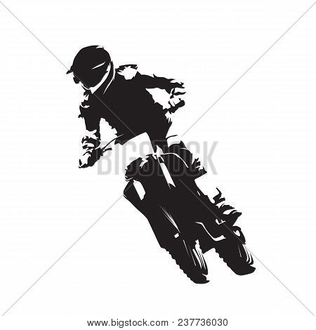 Motocross Racing, Fmx Vector Isolated Silhouette, Moto Sport