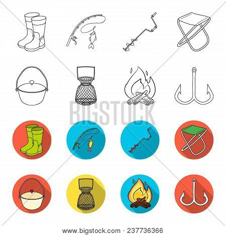 Catch, Hook, Mesh, Caster .fishing Set Collection Icons In Outline, Flet Style Vector Symbol Stock I