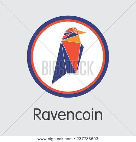 Ravencoin Finance. Blockchain Cryptocurrency - Vector Coin Image. Modern Computer Network Technology