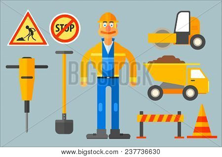 Set With Road Worker And Various Equipment. Man In Working Uniform, Shovel, Cone, Dump Truck, Road R