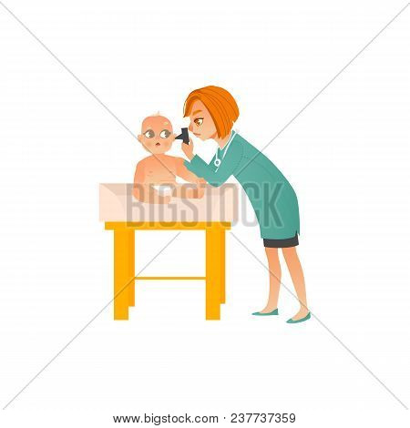 Female Pediatrician Doctor Examines Baby On Scheduled Checkup Isolated On White Background - Medical