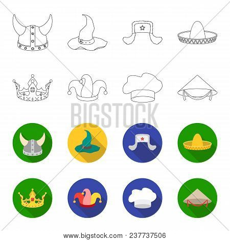Crown, Jester Cap, Cook, Cone. Hats Set Collection Icons In Outline, Flat Style Vector Symbol Stock