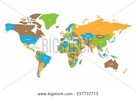 Colorful Map Of World. Simplified Vector Map With Country Name Labels.