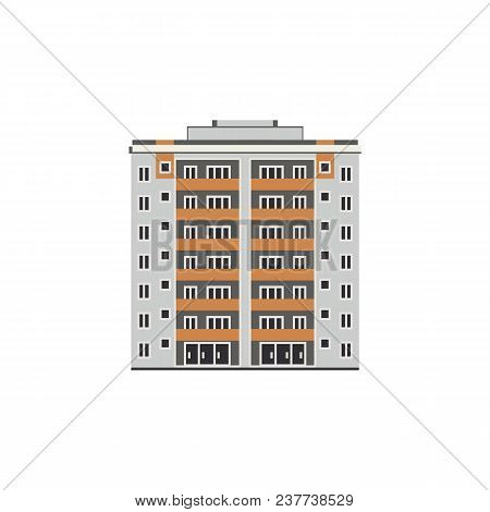 Apartment Or Office Building House, Mall Exterior Icon. City Modern Architecture, Dormitory Area Obj