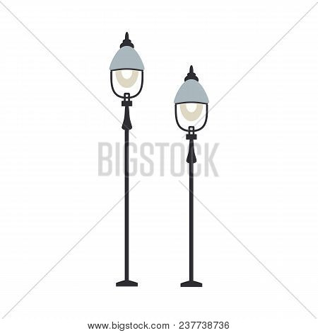 Street Lanterns With One Lamp Set Of Streetlamps Of Various Height In Flat Design Isolated On White